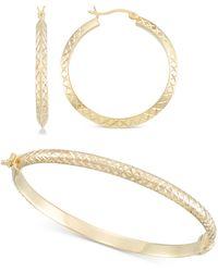 Macy's - 2-pc. Set Medium Textured Hoop Earrings & Matching Bangle Bracelet In 14k Gold Over Sterling Silver - Lyst