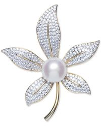 Macy's Cultured Freshwater Pearl (10mm) & Cubic Zirconia Lily Pin In Sterling Silver & 18k Gold-plate - Metallic