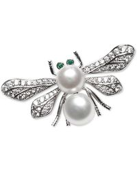 Macy's Cultured Freshwater Pearl (8mm & 9mm) & Cubic Zirconia Bee Pin In Sterling Silver - Metallic