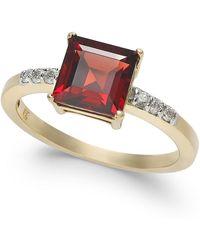 Macy's - Garnet (2-1/10 Ct. T.w.) & Diamond (1/10 Ct. T.w.) Ring In 14k Gold - Lyst
