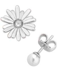 Majorica - Sterling Silver Imitation Pearl Flower Earring Jackets - Lyst
