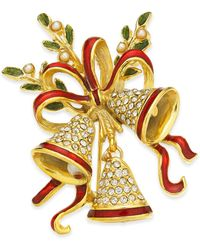 Charter Club Holiday Lane Gold-tone Crystal & Imitation Pearl Triple Bell Pin, Created For Macy's - Metallic