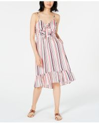 Maison Jules Striped Ruffle-hem Dress, Created For Macy's - Pink