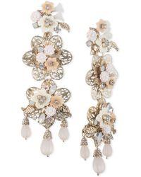 Marchesa - Gold-tone Bead & Flower Drop Earrings - Lyst