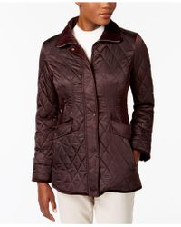 Vince Camuto - Velvet-trim Quilted Coat - Lyst