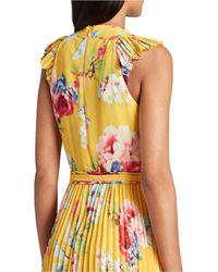 Tahari Pleated Floral-print Dress - Yellow