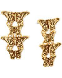 Steve Madden Gold-tone Butterfly Linear Earrings - Metallic