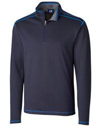 Cutter & Buck Big & Tall Long Sleeves Evergreen Reversible Overknit Sweatshirt - Blue
