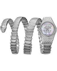 Roberto Cavalli - Diamond Swiss Quartz Silver Stainless Steel Snake Wrap Bracelet, 23mm - Lyst