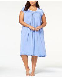 Eileen West - Plus Size Waltz Lace-trim Ruffle-hem Nightgown - Lyst