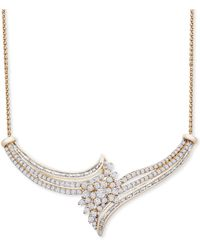 """Wrapped in Love ? Diamond Cluster 18"""" Statement Necklace (2 Ct. T.w.) In 14k Gold, Created For Macy's - Metallic"""