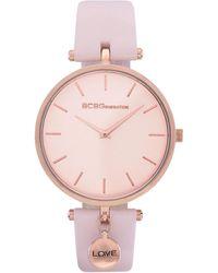 BCBGeneration 2 Hands Slim Pink Genuine Leather Band Watch 36mm