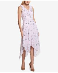 Kensie - Floral-print Ruffle Handkerchief-hem Dress - Lyst