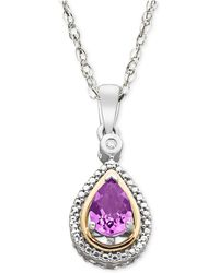 Macy's | Sterling Silver And 14k Gold Necklace, Amethyst (5/8 Ct. T.w.) And Diamond Accent Pendant | Lyst