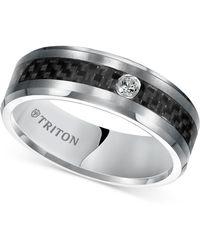 Triton Diamond Band (1/20 Ct. T.w.) In Grey Tungsten Carbide & Black Carbon Fibre Inlay - Multicolour