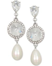 Badgley Mischka - Silver-tone Crystal & Imitation Pearl Drop Earrings - Lyst