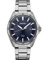 Seiko - Men's Solar Essentials Stainless Steel Bracelet Watch 43mm - Lyst