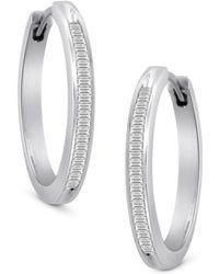 Macy's - Diamond Hoop Earrings In Sterling Silver (1/2 Ct. T.w.) - Lyst