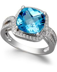 Macy's - Blue Topaz (4-3/4 Ct. T.w.) And Diamond (1/3 Ct. T.w.) Ring In 14k White Gold - Lyst