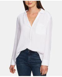 1.STATE Cotton Split-neck Shirt - White