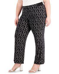 $90 Gray NwT INC Women/'s 2x Plus Size Front-Tie Wide-Leg Pants Striped
