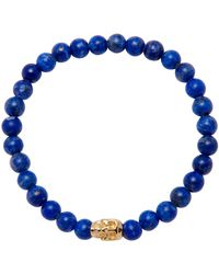 Nialaya Wristband With Blue Lapis And Gold Skull
