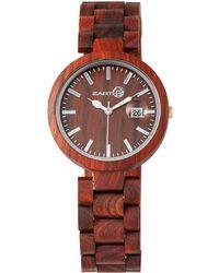 Earth Wood - Stomates Wood Bracelet Watch W/date Red 40mm - Lyst