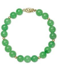 Macy's Dyed Jade (8mm) Beaded Bracelet In 14k Gold - Green