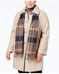 London Fog - Plus Size Walker Coat With Scarf - Lyst