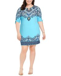 Macy's Jm Collection Petite Printed Ruched-sleeve Dress, Created For - Blue