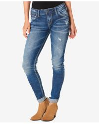 Silver Jeans Co. - Indigo Wash Ripped Girlfriend Jeans - Lyst