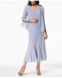 R & M Richards - R&m Richards Sleeveless Beaded V-neck Dress And Jacket - Lyst