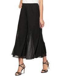Alex Evenings Sheer Wide-leg Cropped Trousers - Black