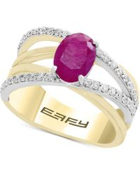 Effy Collection - Final Call By Effy® Ruby (1-3/8 Ct. T.w.) & Diamond (1/3 Ct. T.w.) Crisscross Ring In 14k Gold & White Gold - Lyst