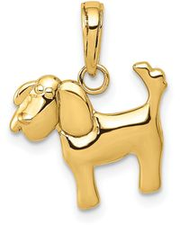 Macy's Polished Dog Charm In 14k Yellow Gold - Metallic