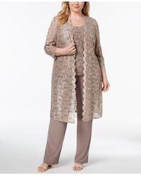 R & M Richards 3-pc. Plus Size Sequined Lace Pantsuit & Shell - Multicolor
