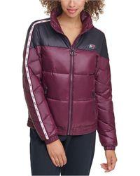 Tommy Hilfiger Sport Colorblocked Front-zip Puffer Coat - Purple