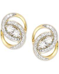 Wrapped in Love - Diamond Oval-link Earrings (1/2 Ct. T.w.) In 14k Gold - Lyst