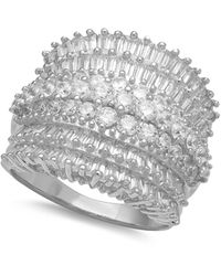 Macy's - Cubic Zirconia Multi Row Princess, Baguette & Pave Band (4-1/5 Ct. T.w.) In Sterling Silver Or 18k Gold Over Silver - Lyst