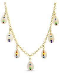 Steve Madden Multi Colored Seashell Charm Necklace - Metallic