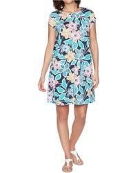 Ruby Rd. Petite Summer Floral Dress - Blue
