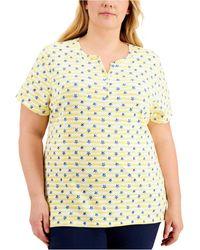 Karen Scott Plus Size Striped Star-print Henley T-shirt, Created For Macy's - Yellow