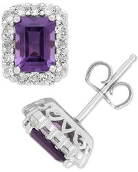 Macy's - Amethyst (1-3/4 Ct. T.w.) & White Topaz (3/4 Ct. T.w.) Stud Earrings In Sterling Silver - Lyst