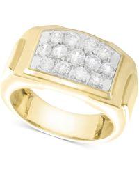 Macy's Men's Diamond Rectangle Cluster Ring (1 Ct. T.w.) In 10k Gold - Metallic