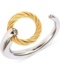 Charriol - White Topaz Accent Cuff Ring In Stainless Steel & Gold-tone Pvd Stainless Steel - Lyst