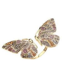 Noir Jewelry - Multi-colored Cubic Zirconia Butterfly Wing Ring - Lyst