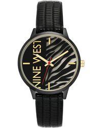 Nine West Gunmetal And Black Textured Strap Watch, 36.5mm