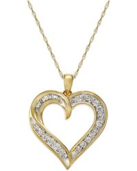 Macy's - Diamond Heart Pendant Necklace In 14k Gold (1/4 Ct. T.w.) - Lyst