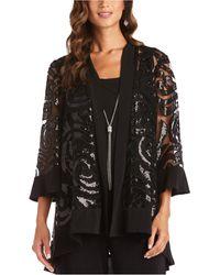 R & M Richards Necklace Jacket & Blouse - Black
