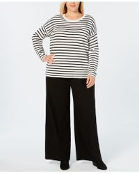 Eileen Fisher - Plus Size Merino Wool Striped Jumper - Lyst